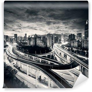 Vinylová Fototapeta Shanghai město při západu slunce se světlem stezky;