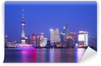 Vinylová Fototapeta Shanghai noc