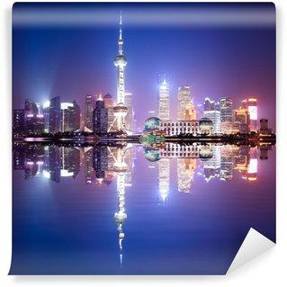 Vinylová Fototapeta Shanghai panorama v noci