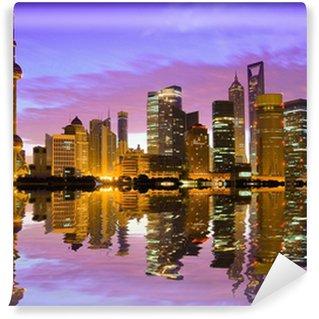 Vinylová Fototapeta Shanghai panorama za úsvitu