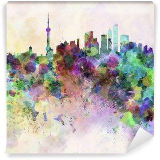Vinylová Fototapeta Shanghai skyline v akvarelu pozadí
