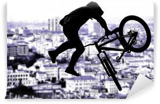 Vinylová Fototapeta Silueta bmx sportovní jezdce v akci s scenérie pozadí