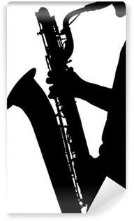 Vinylová Fototapeta Silueta hudebník, který hraje na saxofon,