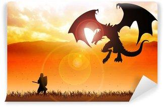 Vinylová Fototapeta Silueta ilustrace rytíře bojuje s drakem