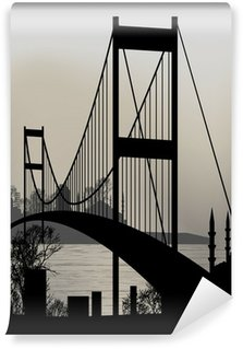 Vinylová Fototapeta Silueta Istanbulu a Bosphorus Bridge