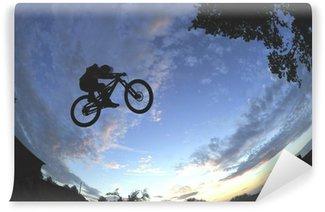 Vinylová Fototapeta Silueta radikální horském kole skok