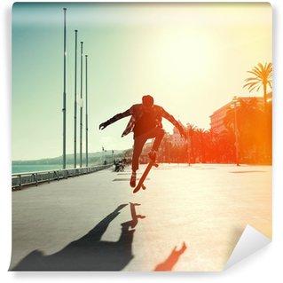 Vinylová Fototapeta Silueta skateboardista