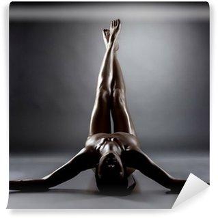 Vinylová Fototapeta Silueta vzrušený nahá žena s štíhlé nohy