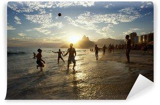 Vinylová Fototapeta Siluety Carioca Brazilci Hrací Altinho plážový fotbal