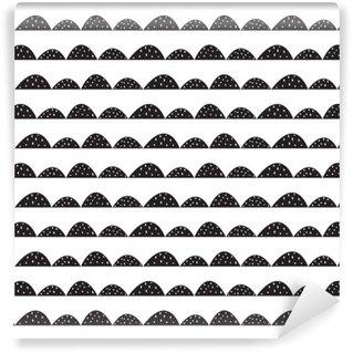 Fototapeta Vinylowa Skandynawski bez szwu czarno-biały wzór w parze narysowanych stylu. Stylizowane rzędy Hill. Fala prosty wzór do tkanin, tkanin i bielizny niemowlęcej.