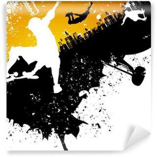 Vinylová Fototapeta Skateboard abstraktní město pozadí