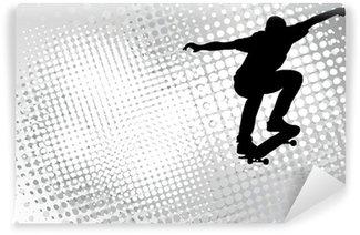 Vinylová Fototapeta Skateboardista na abstraktní polotónů pozadí - vektor