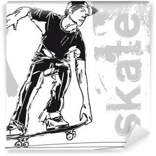 Vinylová Fototapeta Sketch of Skateboard chlapec. Vektorové ilustrace