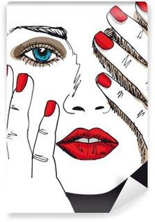 Vinylová Fototapeta Skica krásná ženská tvář. Vektorové ilustrace