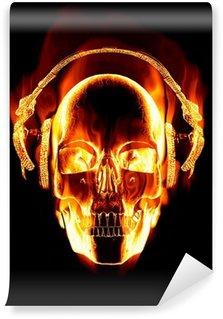 Vinylová Fototapeta Skvělý obraz hořící lebka s nasazenými sluchátky