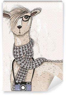 Fototapeta Winylowa Śliczne hipster lama z aparatu fotograficznego, okulary i szalik