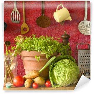 Vinylová Fototapeta Složek potravin a vinobraní kuchyňské nádobí