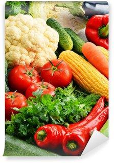 Vinylová Fototapeta Složení s různými čerstvé syrové bio zeleniny
