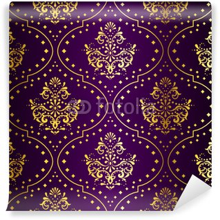 Vinylová Fototapeta Složitý Gold-on-Purple seamless pattern sari