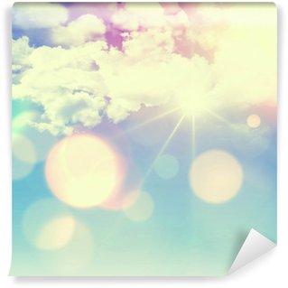 Vinylová Fototapeta Slunečné modré nebe s retro efekt