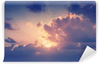 Vinylová Fototapeta Slunečné oblohy na pozadí v retro stylu vintage