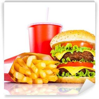 Fototapeta Winylowa Smaczne hamburger i frytki