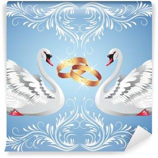 Vinylová Fototapeta Snubní prsteny a dvě labutě