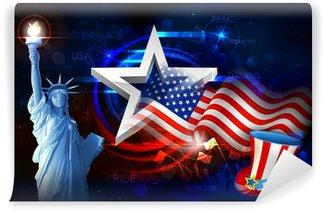 Vinylová Fototapeta Socha svobody s americkou vlajkou