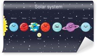 Vinylová Fototapeta Solární systém s líbezným úsměvem planet, Slunce a Měsíce.