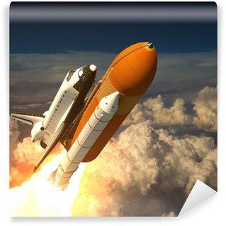 Vinylová Fototapeta Space Shuttle v oblacích
