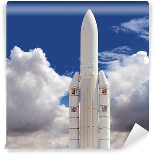 Vinylová Fototapeta Spaceship proti zatažené obloze na pozadí