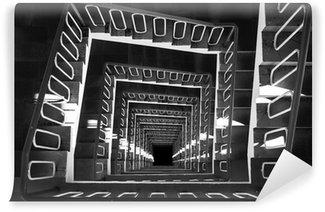 Fototapeta Winylowa Spiralne schody widok z góry czarno-białe zdjęcie