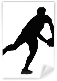 Vinylová Fototapeta Sport Silhouette - Rugby Player Making Běh průsmyk