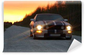 Vinylová Fototapeta Sportovní auto na noční silnici