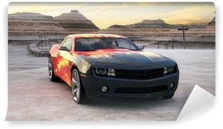 Vinylová Fototapeta Sportovní auto na slunce pouště 3d scény