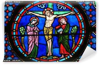 Vinylová Fototapeta Stained Glass - Ježíš na kříži