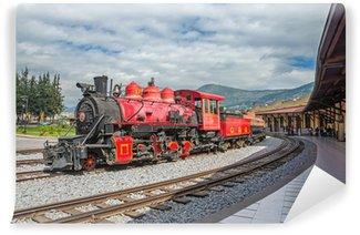 Vinylová Fototapeta Stará lokomotiva vlak na železniční koleje