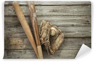 Vinylová Fototapeta Staré baseball s rukavicí a netopýry na nerovném dřeva