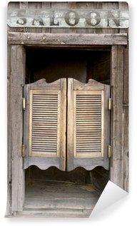 Fototapeta Vinylowa Stare drzwi wahadłowe zachodnie limuzyna z napisem