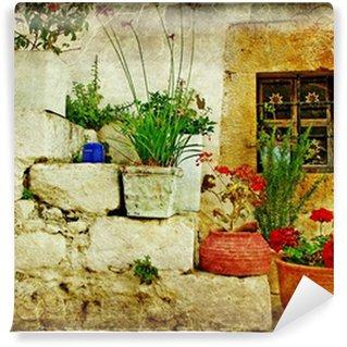 Vinylová Fototapeta Staré vesnice v Řecku - umělecké retro stylu