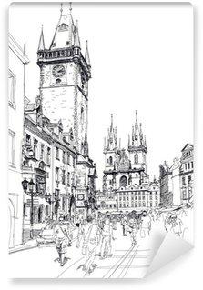 Vinylová Fototapeta Staroměstské náměstí, Praha, Česká republika - vektor skica