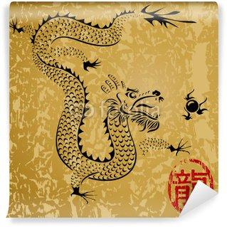 Fototapeta Winylowa Starożytny chiński smok, ilustracji wektorowych warstw.