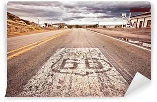 Vinylová Fototapeta Starý Route 66 štít malovaný na silnici