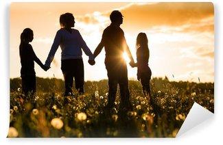 Vinylová Fototapeta Šťastná rodina na louce při západu slunce