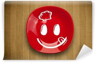 Vinylová Fototapeta Šťastný smiley karikatura obličeje na barevné misky desce