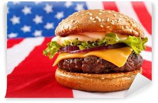 Vinylová Fototapeta Šťavnaté grilované hamburger na USA vlajka pozadí