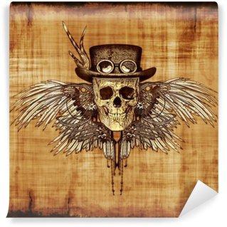 Vinylová Fototapeta Steampunk Skull na pergamen