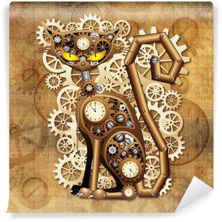 Vinylová Fototapeta Steampunk Vintage Style Cat Cat-Man Surreal