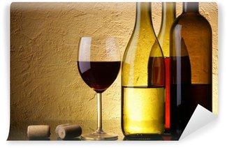 Fototapeta Vinylowa Still-life trzy butelki wina i szkła