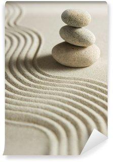 Fototapeta Winylowa Stos kamieni na raked piasku